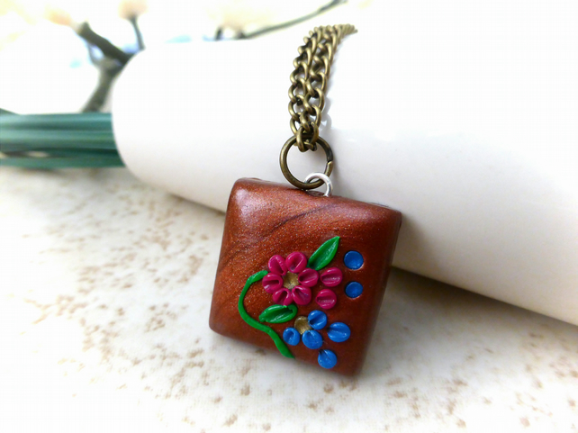 Springtime Polymer Clay Necklace