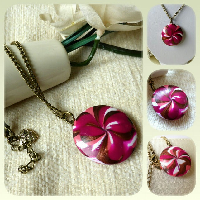 Pink Floral Burst Polymer Clay Pendant Necklace