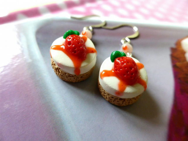 Miniature Food, Strawberry Cheesecake Polymer Clay Earrings