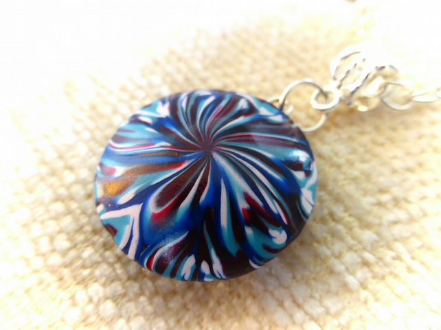 Blue Swirl Polymer Clay Necklace