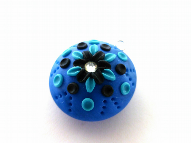 Blue Pearl Effect Applique Pendant