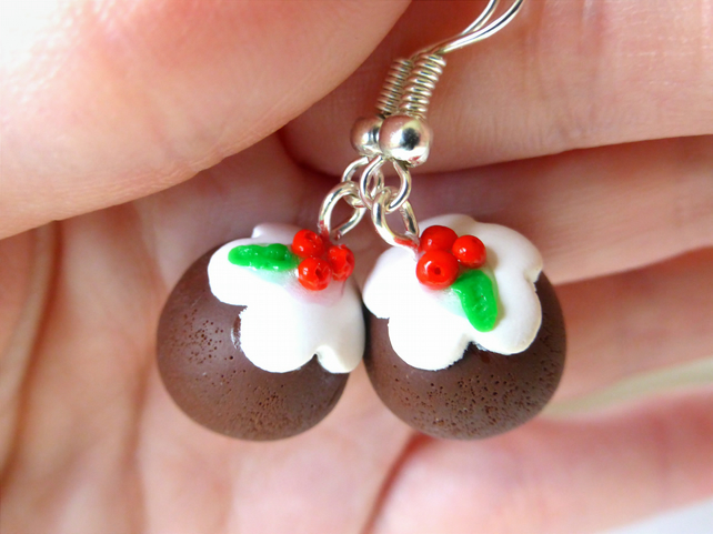Christmas Pudding Earring's, Novelty, Polymer Clay