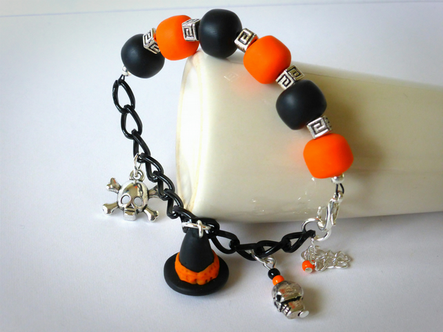 Halloween Charm Bracelet - Polymer Clay Orange & Black Beaded
