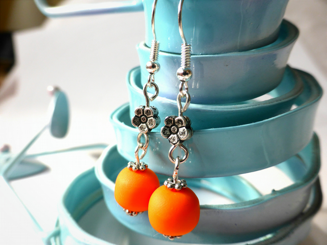 Earrings - Orange Polymer Clay Bead & Silver Flower