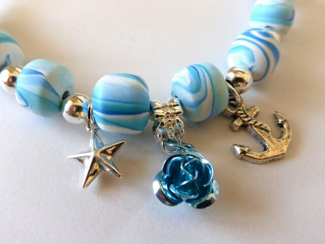 Necklace - Blue & White Swirly Beads with Chain