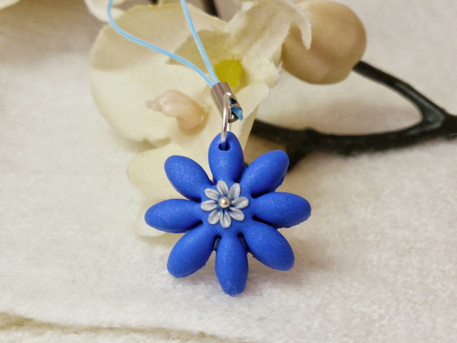 Blue Flower Appliqué Charm, Charm Cord, Polymer Clay