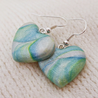Heart Earrings, Polymer Clay, Green, Yellow, Blue, Pearl Shimmer