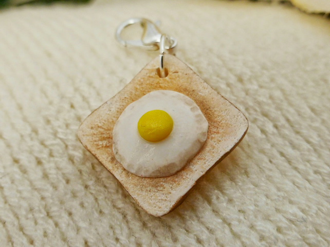 Miniature Food Charm, Fried Egg on Toast Polymer Clay