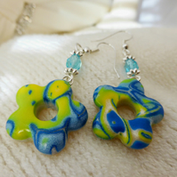 Blue, Yellow Mokume Gane Polymer Clay Earrings- Flower Donut