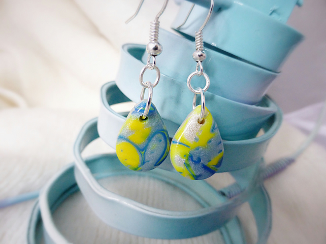Earrings - Teardrop Dangle, Yellow & Blue, Mokume Gane, Polymer Clay