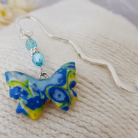 Butterfly Bookmark, Blue & Yellow, Beaded, Polymer Clay