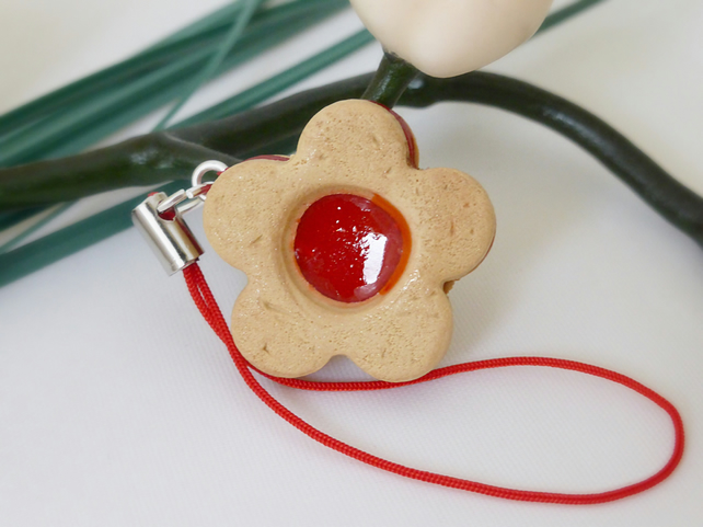 Jam Biscuit Miniature Food Charm, Polymer Clay