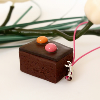 Chocolate Brownie Slice Charm, Miniature Food, Polymer Clay