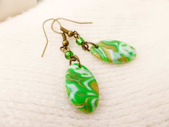 Dangly Earrings - Green & Bronze Toned Ovals, Polymer Clay