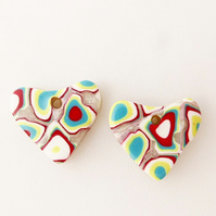 Set of 2 Handmade Heart Charms, Colourful Mix