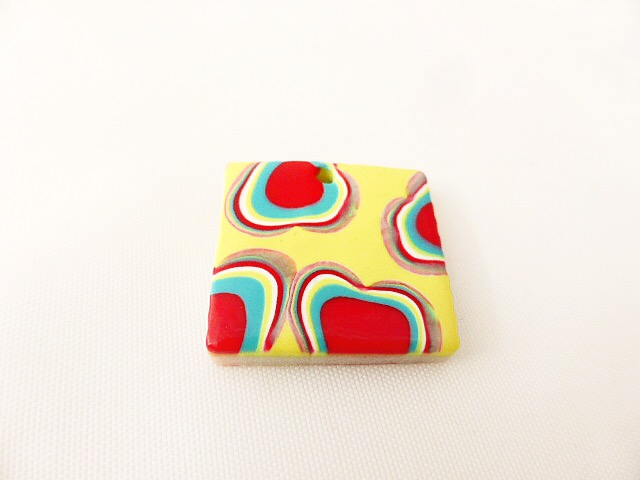 Colourful Square Pendant, Handmade, Polymer Clay