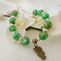 Green Bronze Bracelet - Mokume Gane, Green Bronze Pearl Mix Beads, Owl Charm