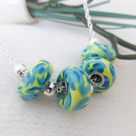 Lemon & Blue Necklace, Donut Shaped Beads, Polymer Clay