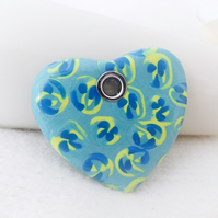 Heart Pendant, Duck Egg Blue with Cane Pattern, Polymer Clay