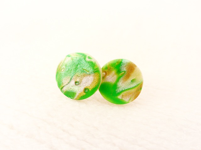 Round Stud Earrings, Green, Bronze, Pearl, Mokume Gane, Polymer Clay