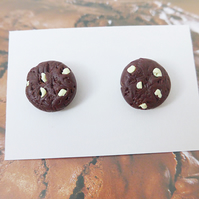 Realistic White Chocolate Chip Cookie Stud Earrings, Novelty, Miniature Food