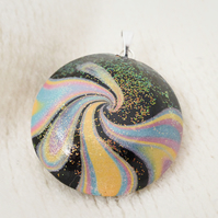 Handmade Large Pendant with Bail - Galaxy Glitter