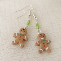 Christmas Gingerbread Men Dangly Earrings