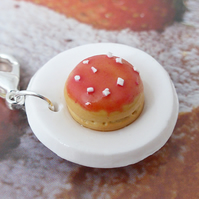 Raspberry Glazed Doughnut on a Plate - Handmade Miniature Food Charm