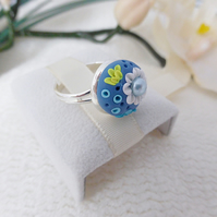 Floral Applique Adjustable Ring - Aegean Blue