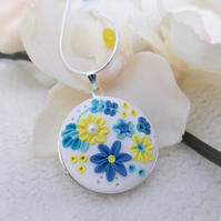 Polymer Clay Applique Spring Floral Pendant Necklace - White, Blue, Yellow