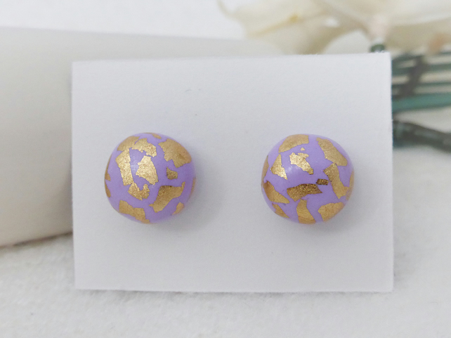 Lilac Stud Earrings with Gold Leaf Detail