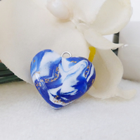 Small Heart Pendant, Charm, Polymer Clay