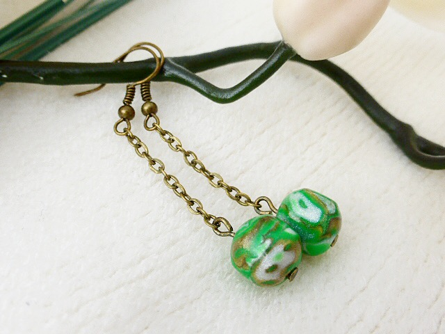 Long Dangly Earrings - Green, Bronze & Pearl Mokume Gane, Polymer Clay