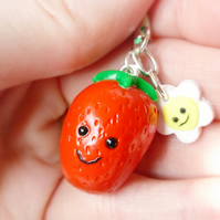 Happy Strawberry Charm, Kawaii, Gift for Friend, Teacher Gift, Free U.K Postage