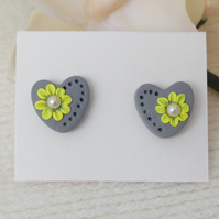 Smoky Grey Applique Heart Stud Earrings