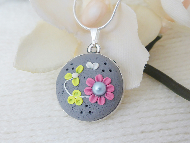 Smoky Grey Floral Applique Necklace, Polymer Clay, Gift for Her, Mothers Day
