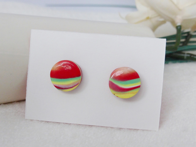 Round Stud Earrings, Red, Yellow, Green Pattern, Polymer Clay