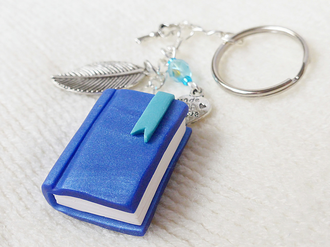 Miniature Book, Journal Keyring, Blue, Polymer Clay