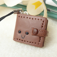Miniature Wallet Charm, Brown, Kawaii, Polymer Clay