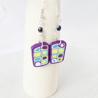 Colourful Extruded Polymer Clay Dangly Earrings