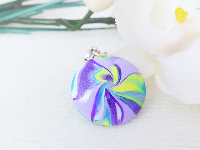 Handmade Pendant With Ornate Bail, Reversible, Lilac, Purple, Turquoise, Yellow