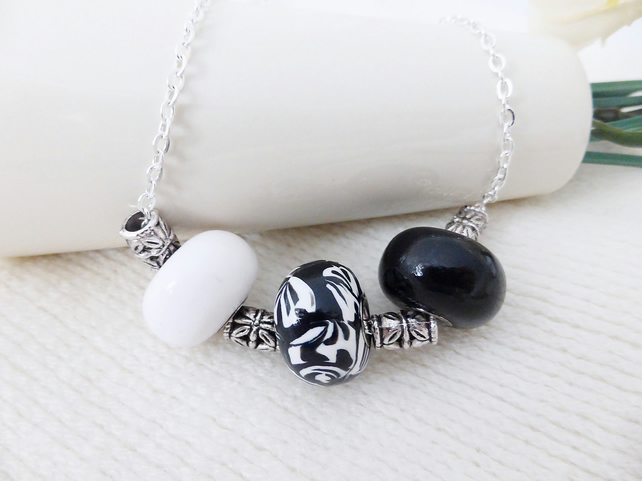Black & White Beaded Necklace, Handmade, Polymer Clay