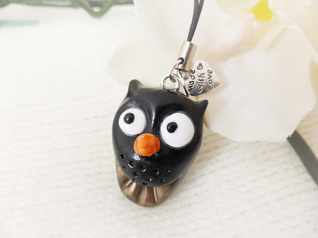 Black Owl Charm, Polymer Clay, Quirky, Charm Cord, FREE Postage