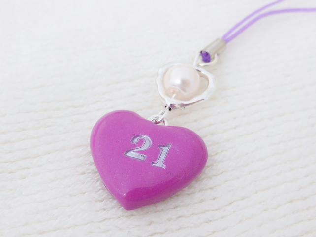 21st Birthday Heart Charm, Dark Pink, 21st Birthday Gift