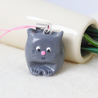 Happy Cat Charm, Grey Cat, Polymer Clay, Accessories, Cat Lover
