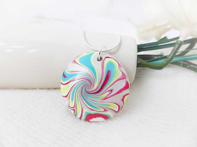 Colourful Swirl Handmade Pendant Necklace, Turquoise, Dark Red, Yellow, White