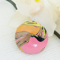 Handmade Pendant, Reversible, Patterned, Orange, Pink, Black, Yellow