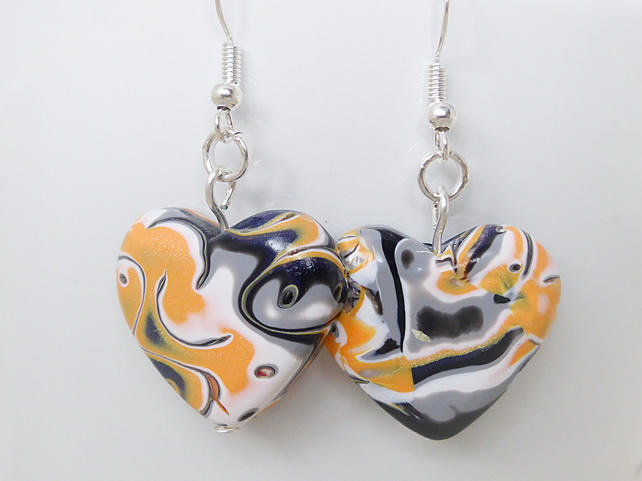 Heart Earrings, Mokume Gane, Hand Polished, Orange, Grey, Black, White