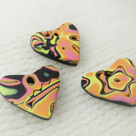 Bright Colour Mix Heart Charms, Set of 3, Handmade, Hand Polished