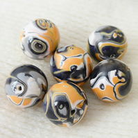 Polymer Clay Round Beads, 6 Beads, 14mm, Orange, Black, White, Grey Mix